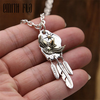 Genuine 925 Sterling Silver Vintage Punk Thai Silver Feather Eagle Pendant For Women Men Necklace Jewelry Retro