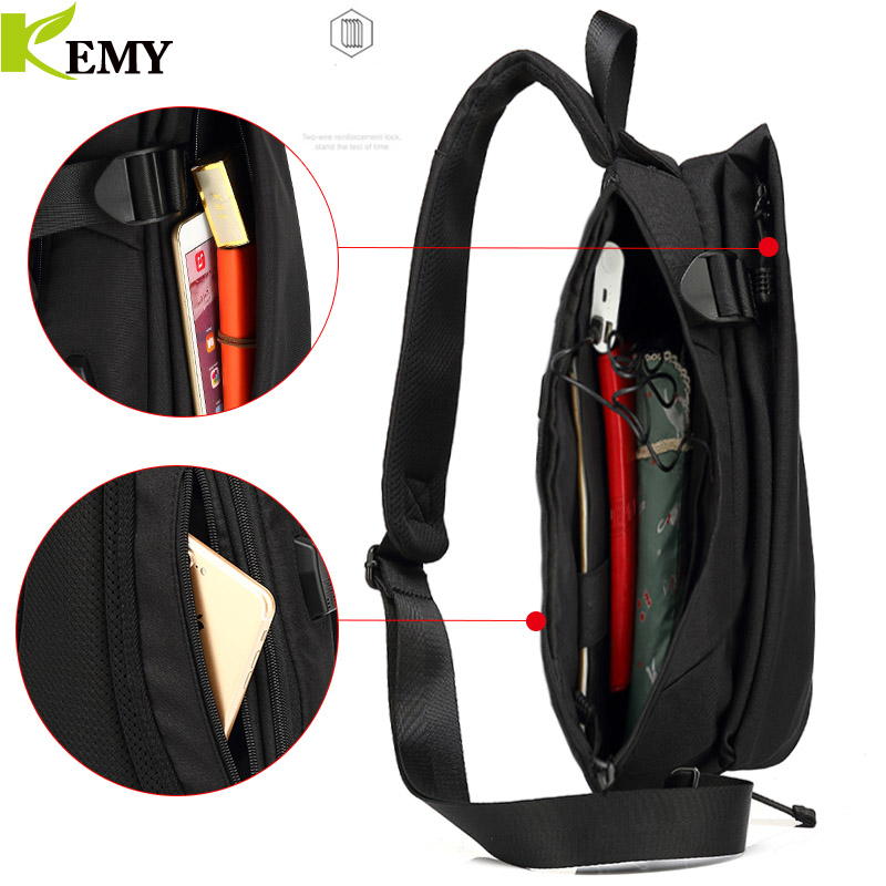 KEMY New Arrival Crossbody Bags Men Chest Pack Short Trip Messengers Bag Waterproof Shoulder Bag USB Sling Bag For Ipad Pocket 4