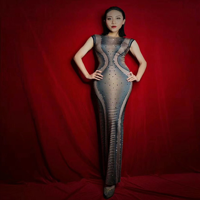 Women Nightclub Bar Sexy 3D Printed Striped Maxi Sexy Long Dress Female Song DJ DS Performance Costume GOGO Show One-Piece Dress image