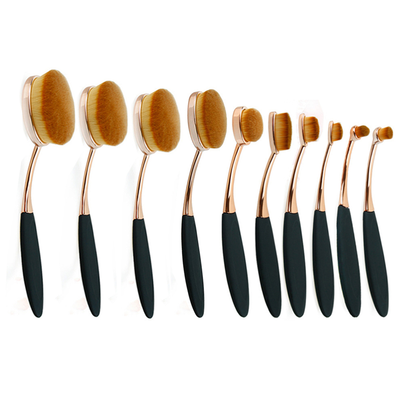 10pcs Makeup Brushes Set Oval Toothbrush Foundation Cream Power Make Up Tooth Brush Blush Blending Cosmetic Beauty Tools Gold