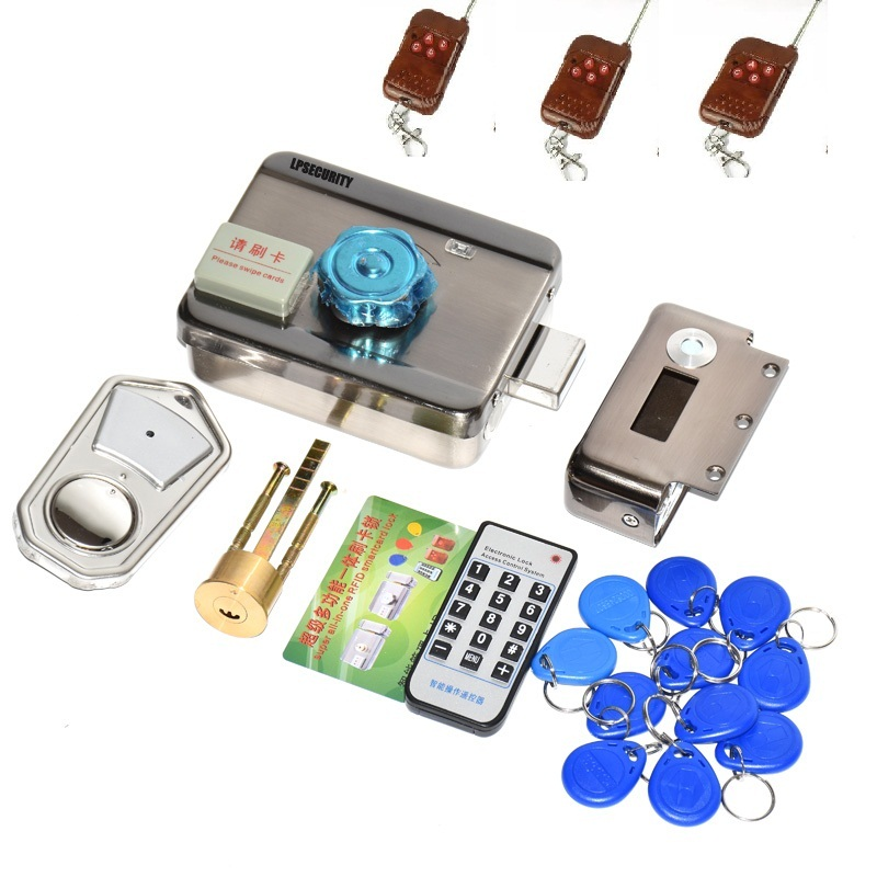 Outdoor Remote Control 10 Tags Electric Lock & Gate Lock Access Control System Electronic Integrated RFID Door Rim Lock