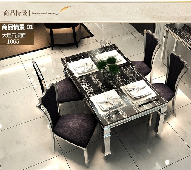 Stainless steel dining table and chairs home furniture Stylish dining table with marble Dining table set & Stainless steel dining table and chairs home furniture Stylish ...