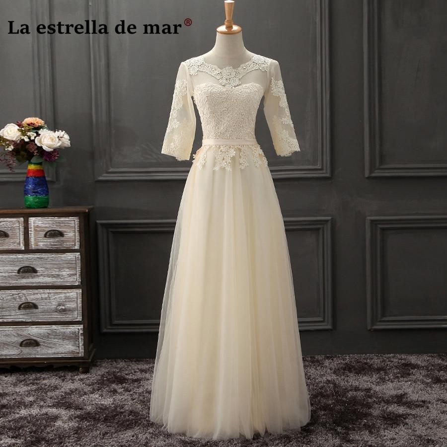 Vestido madrinhas de casamneto2019 new Scoop neck tulle half sleeve A Line champagne navy blue   bridesmaid     dress   long