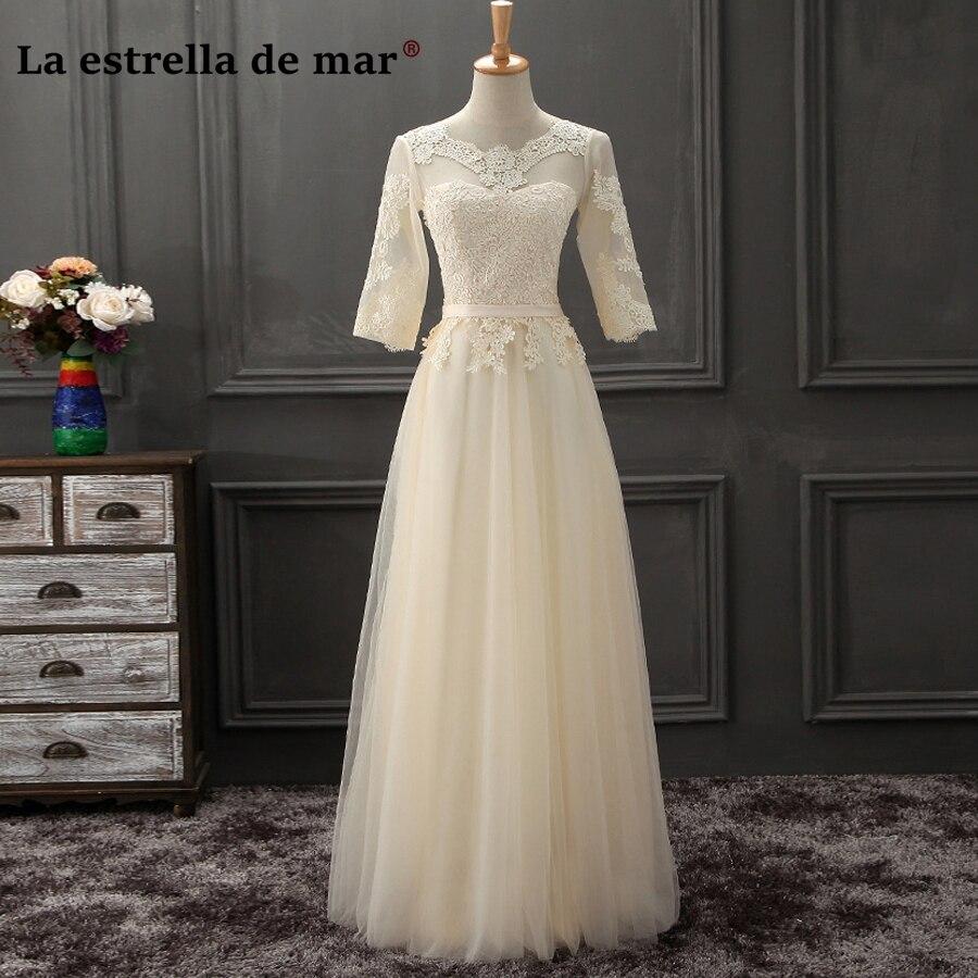 vestidos de festa vestido longo para casamento2018 New Sexy See Lace Half Sleeve a Line Champagne Navy Blue   Bridesmaid     dresses