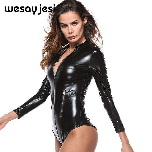e67ce4e70c47 Black PU Leather Bodysuit Women Jumpsuit Long Sleeve Zip Romper Ladies sexy  Playsuit Sexy Overalls Leotard Latex Catsuit 2018