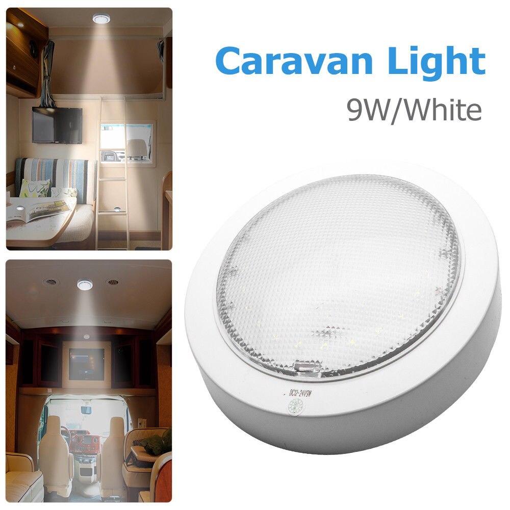 luz de led 9w para panquecas rv caravana cabine interior teto domo luz branca 12v