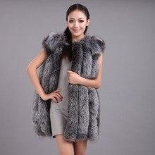 Новинка, Модный зимний женский жилет из меха серебристой лисы, пальто из искусственного меха, женская накидка, меховые жилеты, куртка, Женское пальто размера плюс XS-6XL