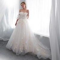 Вивиан люкс 2018 летняя Милая принцесса свадебное платье Flare рукавом Цветочные аппликации сладкий Романтические свадебные платья
