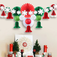Pack of 22 Christmas Paper Decoration Kit SILVER Snowflakes Wooden Clip Garland Honeycomb Hats Bells Lanterns Paper Fans Poms snowflakes on silver cove