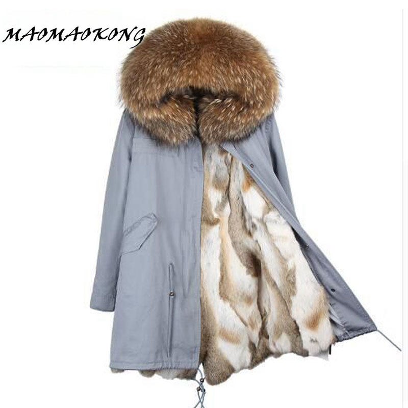 2017 new winter jacket women long coat real large raccoon fur collar hooded and real rex rabbit fur thick warm liner 2017 winter new clothes to overcome the coat of women in the long reed rabbit hair fur fur coat fox raccoon fur collar