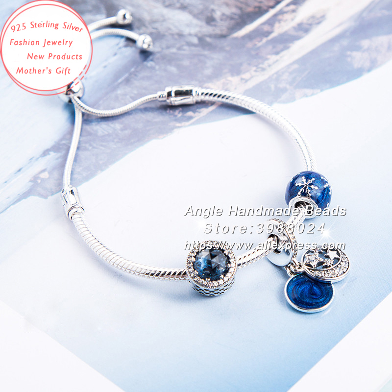 Fashion Jewelry Bracelet S925 Sterling Silver Blue Shining Stars Pendant Charms Finished Bracelet Set Fit Woman Gifts For GirlsFashion Jewelry Bracelet S925 Sterling Silver Blue Shining Stars Pendant Charms Finished Bracelet Set Fit Woman Gifts For Girls