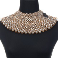 2019 Red/White/Gold Chunky Handmade Statement Necklace For Women Necklace Bib Collar Choker Crystals Necklace Maxi Jewelry Women