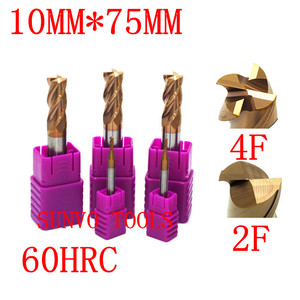 Image 3 - 2 stks 4/2 fluiten 10x75mm HRC45 HRC50 HRC55 HRC60 10mm CNC Tungsten Carbide End Mill R5 ball end Frees Aluminium frees