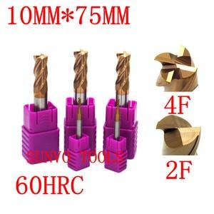 Image 3 - 2pcs 4/2 flutes 10x75MM HRC45 HRC50 HRC55 HRC60 10MM CNC Tungsten Carbide End Mill  R5 ball end End Mill Aluminum milling cutter