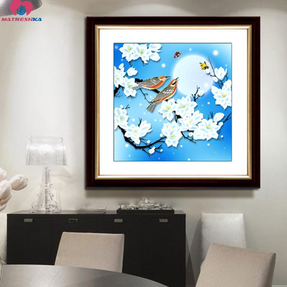 46 centimetri x 46 centimetri 3D perline set fiore uccello Cinese pittura serie 11CT conteggio Preciso tessuto stampato punto croce perline da ricamo-in Ricamo da Casa e giardino su  Gruppo 2