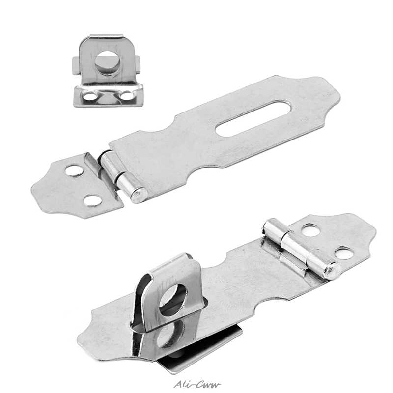4Pcs Home Drawer Door Safety Padlock Latch Hasp Staple Stainless Steel NO.5