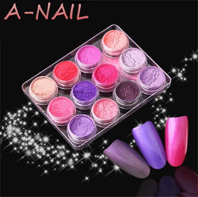 12jars/set 12colors mocha Gradient Nail Glitter Pigment Powders Pretty Shimmer Shell Powder Nail Powder Dust Decoration Glitter