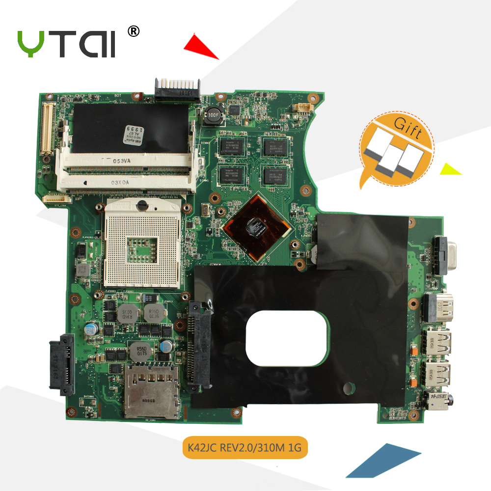 YTAI K42JC REV:2.0 HM55 DDR3 Mianboard for ASUS K42JC laptop motherboard REV:2.0 HM55 DDR3 GeForce 310M 1GB Mainboard ytai k43sv gt540m rev4 1 mianboard for asus a43s x43s k43sj a43sv k43sv laptop motherboard gt540m 1gb usb3 0 hm65 ddr3 mianboard