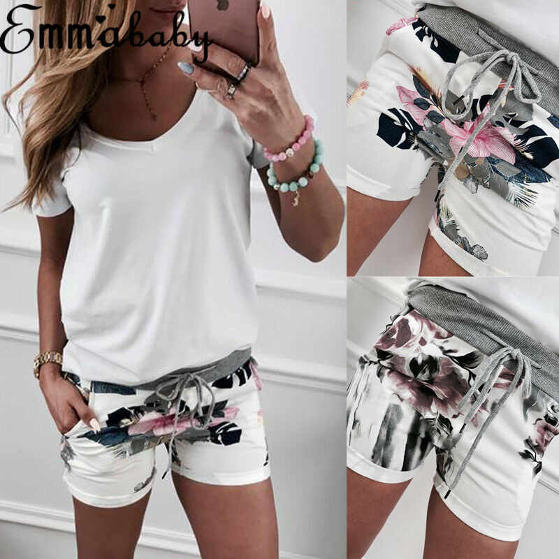 Donne Casual A Vita Alta Short Beach Party Hot Shorts Stampa Floreale Delle Ragazze Shorts