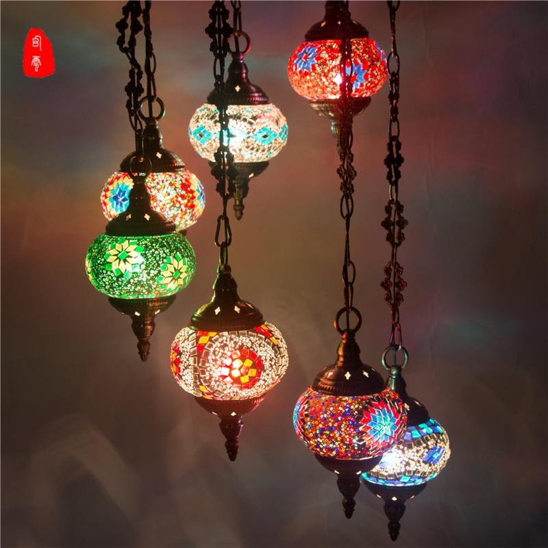 Turkish Moroccan Pendant Light Handmade Mosaic Stained