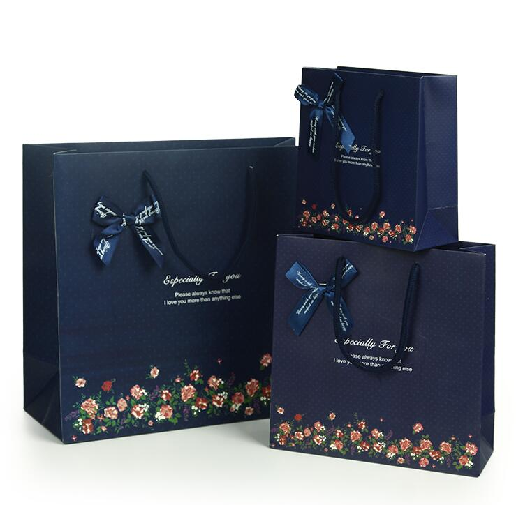 06 20 8 20cm 20pcs Elegant Blue Paper Gift Bag Small Size Bags With Handle Ping Ba Festival In Wring