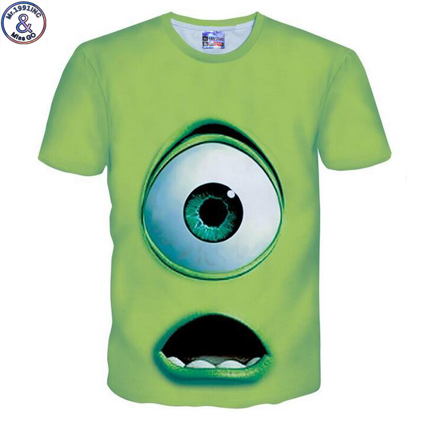 Mr.1991 brand New arrive summer style big eye monster printed children's t-shirt Unisex Kids tshirt roupas infantis menina T6b