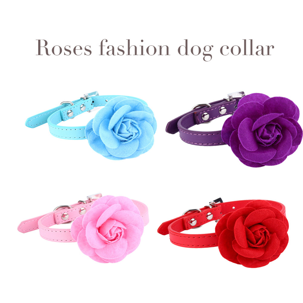 Online get cheap dog collar flower aliexpress alibaba group fashion pu leather dog collar lovely floral flower dog pet teddy necklace collar neck strap for dhlflorist Choice Image