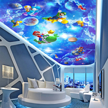 Customized Size 3D Cartoon Science Fiction Space Blue Sky Photo Mural for Kids' Room Ceiling Background Wall 3D Room Wallpaper