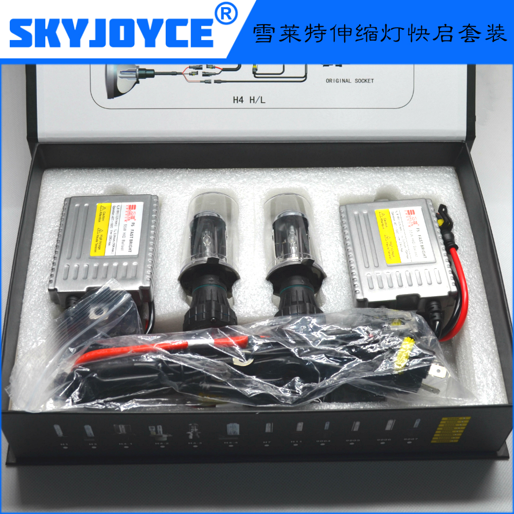 10 sets Cnlight H4 high low beam xenon headlight 55W 12V H4 HID Kit 6000K H4-3  hid xenon kit 2 ballasts + 2 bulbs+ 1 cable
