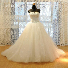 Real Picture 2017 Ball Gown Wedding Dresses Sleeveless Lace Bridal Gown Beaded Vestido De Noiva Custom made