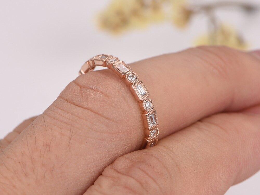 MYRAY Wedding Bands Diamond Engagement Ring Bezel Set Ring Milgrain