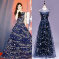 robe de soiree fashion star long evening dresses 2017 o neck navy blue women pageant gown real picture  foraml prom party