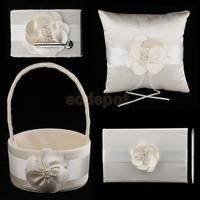 4 Pieces Sash Wedding Set Guest Book Pen Holder Flower Basket Ring Pillow Champagne