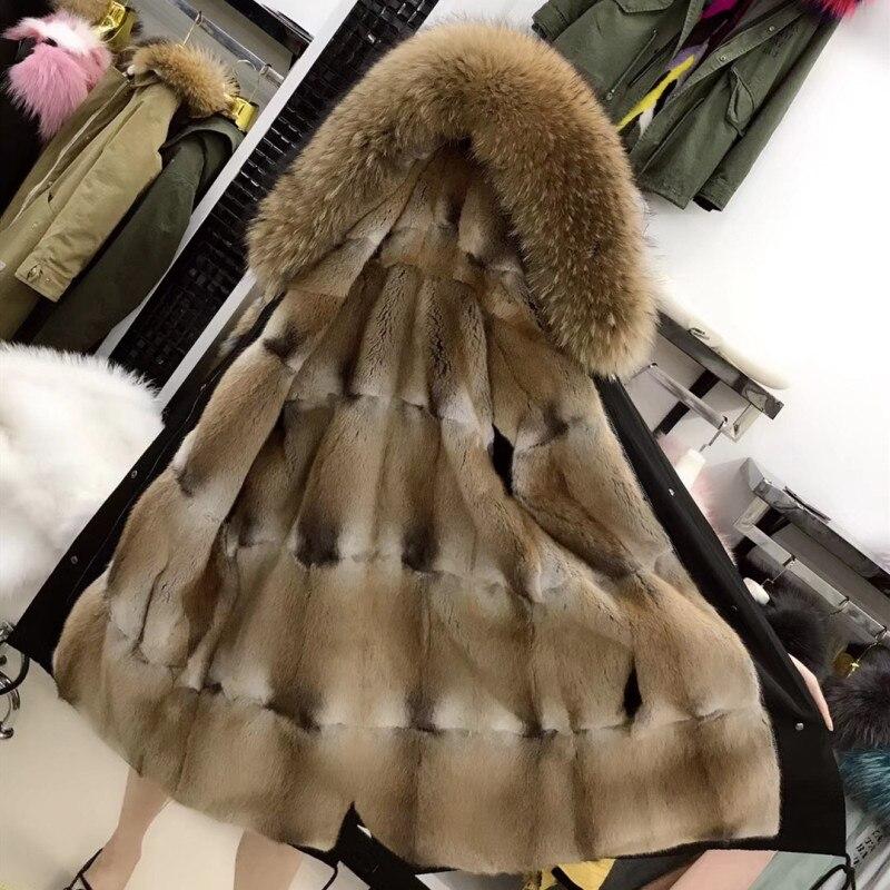 Пальто с мехом парка зимняя куртка пальто Женская парка большой натуральный мех енота воротник натуральная норковая подкладка Длинная Вер