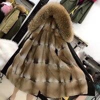 coat with fur parka winter jacket coat women's park big natural fur raccoon collar natural mink lining long outerwear