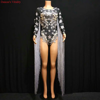 Jumpsuit Shining Silver Star Bead Rhinestone Dress Women Tassel Sexy Costume Dresses Rhinestone Bodysuit Evening Outfit Clothing