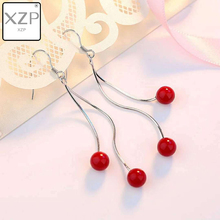 XZP Korean Valentines Copper Silver Plated Earrings For Women Cute Cherry Red Garnet Long Drop Earrings Natural Stone Jewelry natural red garnet stone drop earrings s925 silver natural gemstone earring women personality fashion drop earrings for party