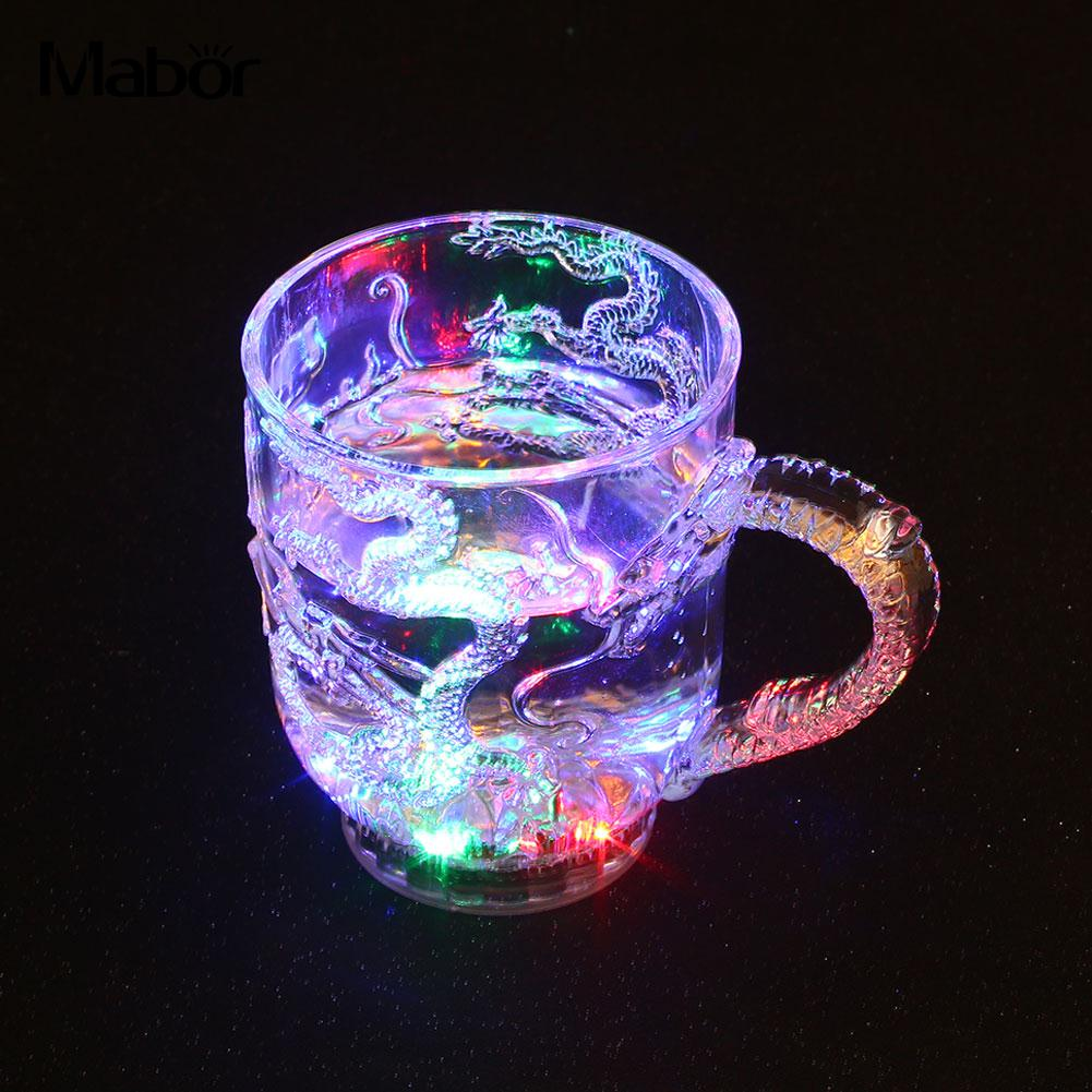Luminous Wine Cup Health Creative Beer Cup LED Flashing Mug Color Change Dragon Wine Activated Light Up Wine Glass Creative Gift