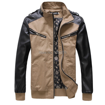 Spring Dongkuan sportsman multi zipper cotton jacket Korean Slim leather collar spell hit color jacket wholesale