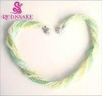 CZERWONY WĄŻ Marki Produkt Zielony Kryształ Wielu Pasemka Biżuteria Łańcuszki Naszyjniki Klamry Magnetyczne Świetnie. rabaty!