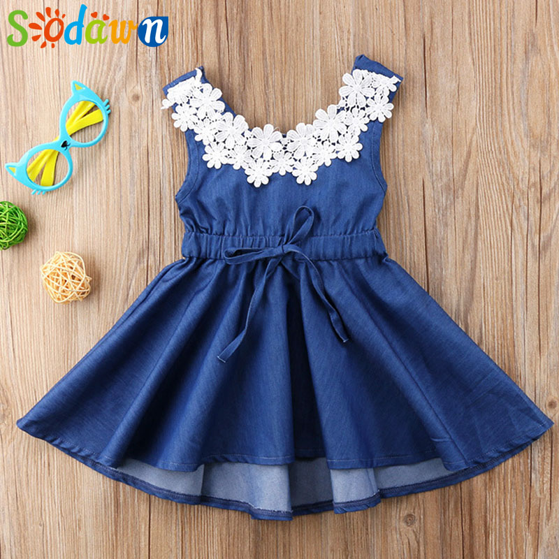 Sodawn 2018 Summer Children's Clothing Europe And The United States Imitation Cowboy Lace Dress Baby Girl Clothes Girls Dress 2017 spring and summer fashion girls clothing europe and the united states wind dress long sleeved lace princess peng peng dress