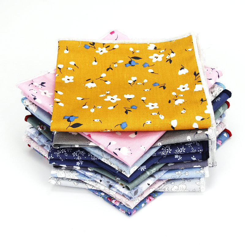 New Floral Printed Soft Handkerchief Cotton Men Hankies Wedding Banquet Party Pocket Square Flower Gift Accessory High Quality