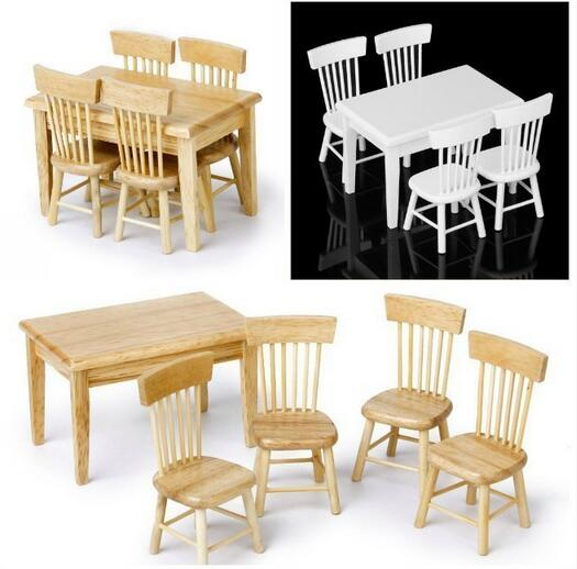 5pcs/set 1/12 Miniature Dining Table Chair House Wooden Furniture Set for Home Room Decor Ornaments Kids Gift
