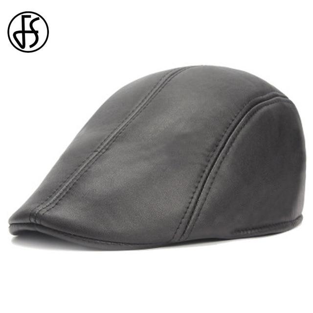 FS nuevo planos de la PU boinas Gorras para hombres o mujeres Casual gorra  negro vendedor 6505b656141