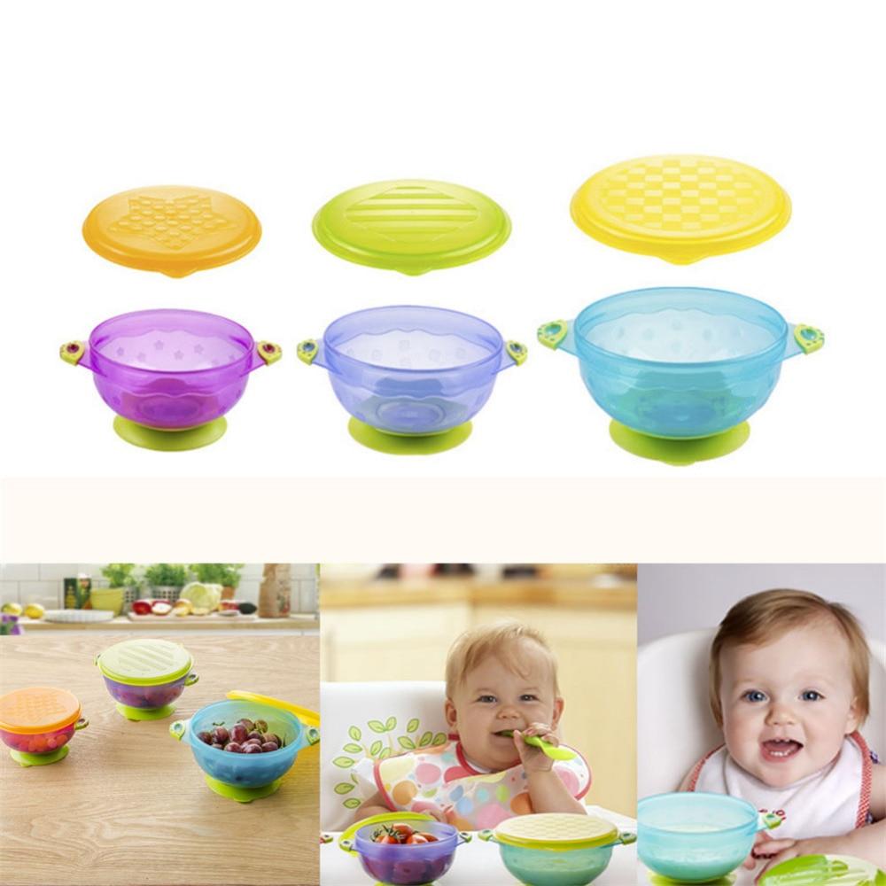 3 stks Stay Put zuigkom Feeding Kinderen Kom met Suction Bowl Babyvoeding Container antislip kinderen Servies