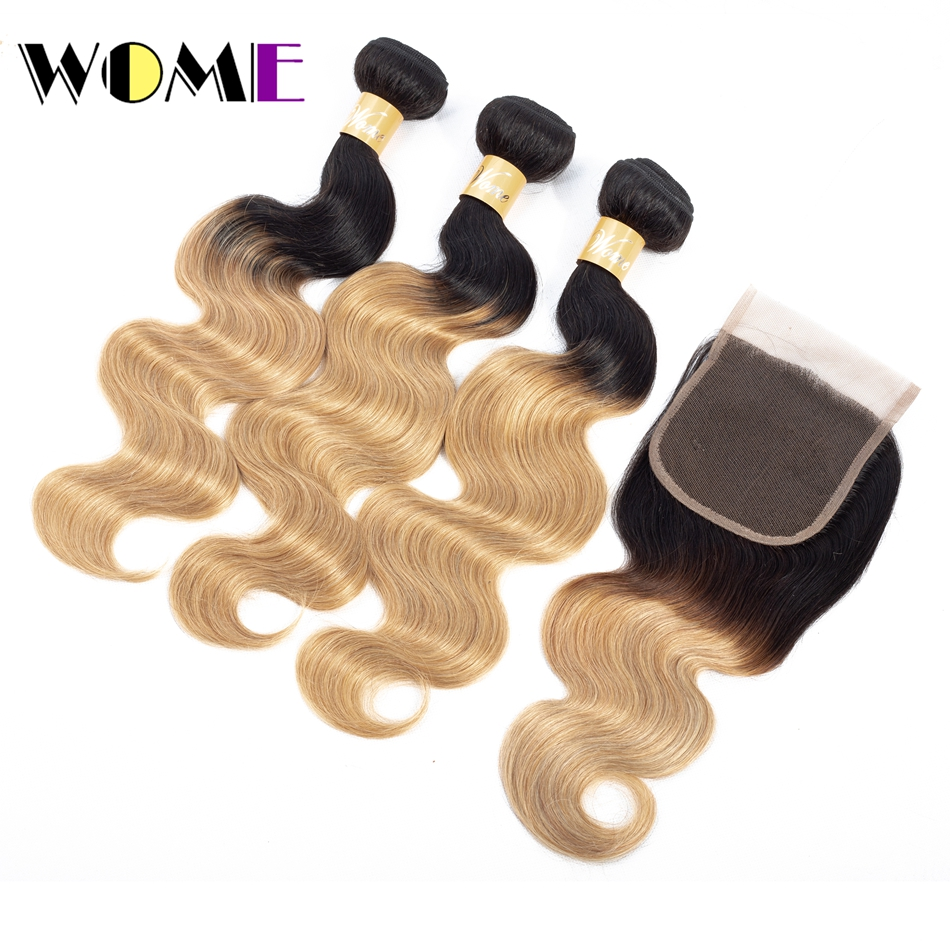 Wome Hair Pre-Colored 3 Bundles With Closure Non Remy Indian Hair Bundles 1b/27 Cheap Hair 3 Bundles With Closure