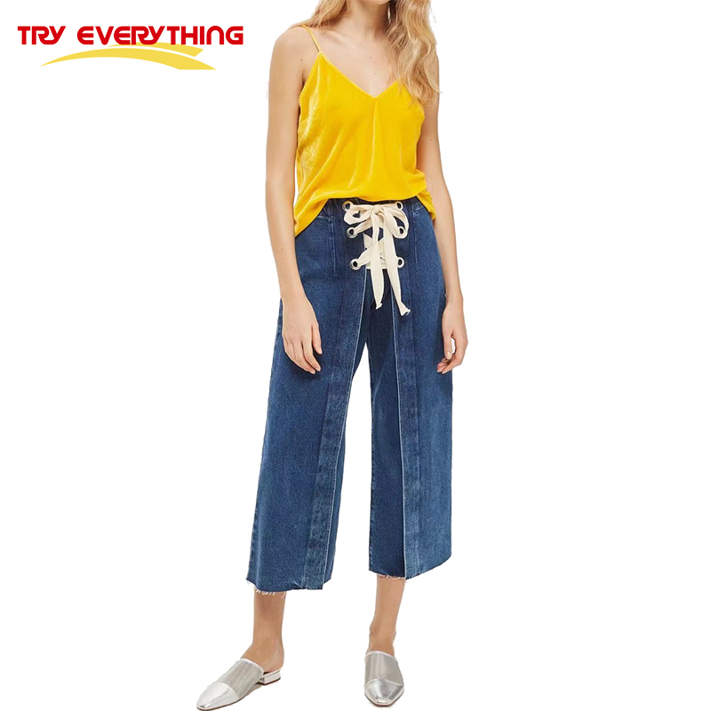 TryEverything Wide Leg Jeans Female Ladies Elastic High Waisted Lace Up Denim Pants Jeans Solid Summer Loose Trousers Women 2017 new summer japanese sen female line all match foundation elastic waist denim jeans wide leg pants