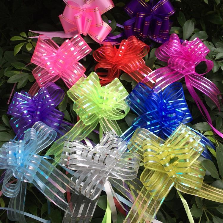 10 pçs embalagem de presente puxar arco fitas aniversário natal ano novo festa de casamento decoração do carro pullbows festa festiva diy suprimentos