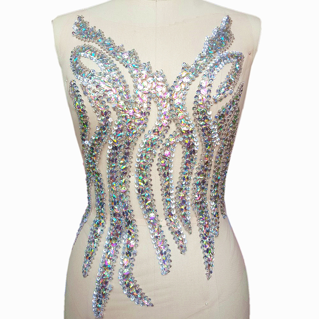 Dw.M Exquisite Beaded 32x56cm white AB Rhinestones Crystal Appliques and  Patches For Wedding Bridal Dress Decoration Costumes b3c336bec8c9