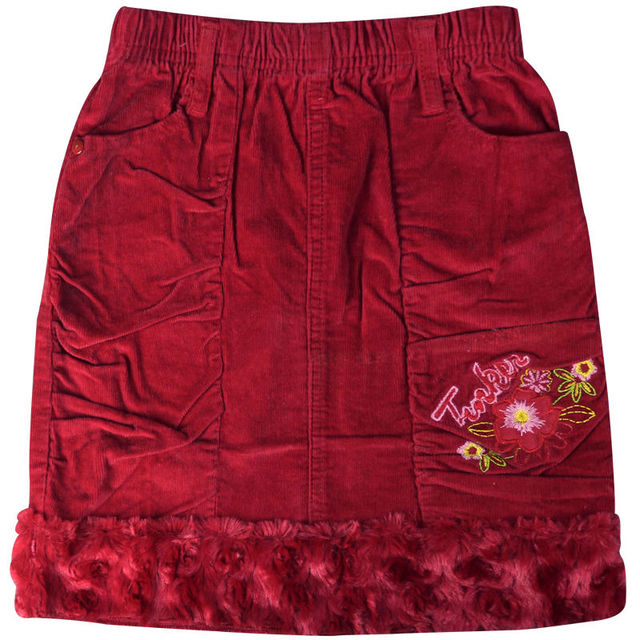 Girl's Red embroidery Floral and Letter Pattern mini Corduroy skirts Above Knee with velvet hemline pockets  ZQ-B53127
